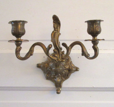 Vintage Brass Double Candle Wall Sconce for 2 candles holder Metal Candlestick