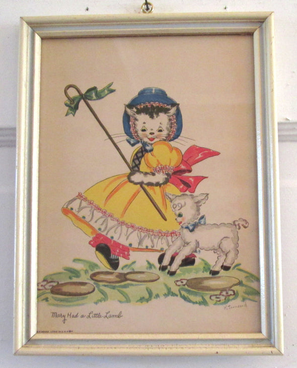 Vintage Nursery Rhyme Print 6x8 framed Mary Had A Little Lamb Childrens Art Print boho nursery decor baby shower gift - Late Boomer Vintage