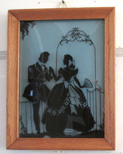 Vintage 6x8 Frame Silhouette Reverse Painted Glass Bubble convex nursery decor 1940s - Late Boomer Vintage