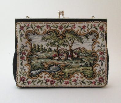 Boho Vintage 1970s Flower Tapestry Fabric Bag Purse English Countryside petit point needlepoint - Late Boomer Vintage