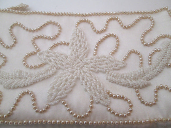 Vintage 1950s Faux Pearl Bead Clutch Wedding Bag White Evening bag Bridal purse champagne pearl bag satin purse - Late Boomer Vintage