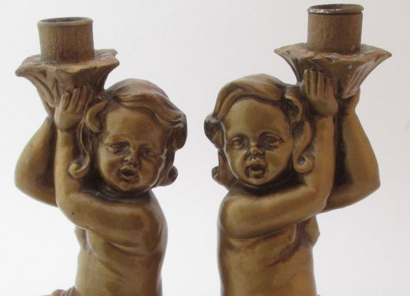 Vintage Cherub Candle Holders Pair Candlesticks OOAK 1950s made in Japan - Late Boomer Vintage