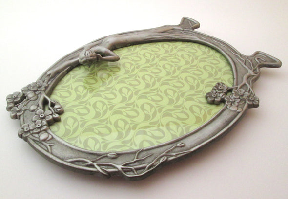 Vintage 5x7 Oval Picture Frame Pewter Art Deco Revival boho decor - Late Boomer Vintage