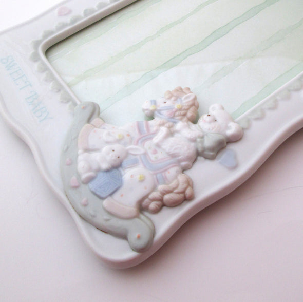 Porcelain 5x7 frame Lullaby Lane vintage ceramic photo frame bear bunny baby room decor