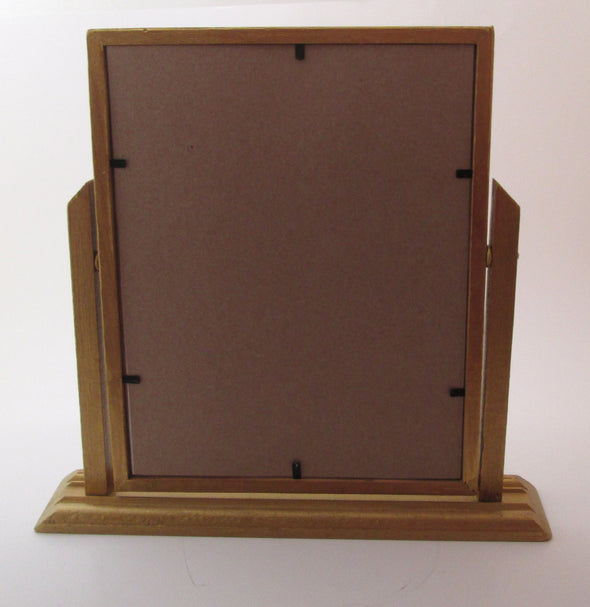 Vintage Art Deco 7x9 swing frame 1930s wooden table top picture frame boho decor - Late Boomer Vintage