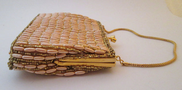 Gold Bead Vintage 1960s Evening Bag pink and gold Purse - Late Boomer Vintage