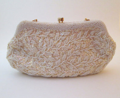 Vintage 1960s Simpsons White Bead Bag Wedding Purse