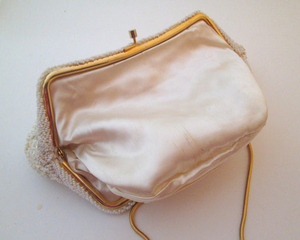Vintage 1960s Simpsons White Bead Bag Wedding Purse - Late Boomer Vintage