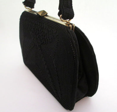 Vintage Kelly Bag 1950s Black Handbag Corde Soutache Ribbon Purse formal handbag - Late Boomer Vintage