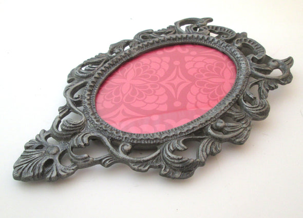 Vintage 5x8 Oval frame for 3x4 photos ornate cast metal picture frame boho decor - Late Boomer Vintage