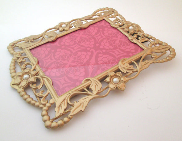 Ornate Vintage 5x7 cast metal picture frame gold flower photo frame boho decor - Late Boomer Vintage
