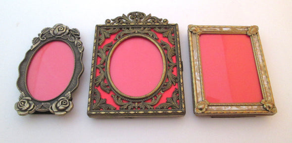Vintage 2.5x3.5 frame set of 3 frames ornate gold metal filigree frame boho decor nursery decor wedding photo frames