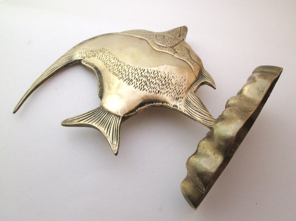 Vintage Brass Fish Statue large angel fish figurine home decor animal beach house