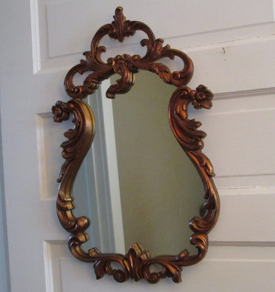 Vintage Durwood Large Wall Mirror Copper Resin Decor - Late Boomer Vintage