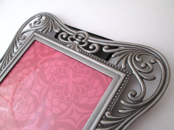 Vintage filigree 7x9 picture frame for 5x7 photos ornate silver metal frame boho