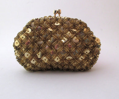 Vintage Gold Bead Coin Purse, 1960s mini bead clutch bag gold sequin small purse