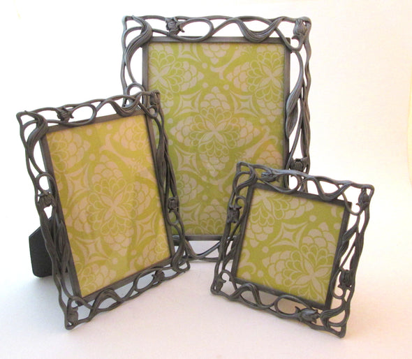 Set of 3 vintage 1980s silver metal art deco style matching frames 5x7 4x6 3x3 frame,