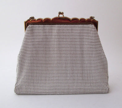 Whiting and Davis Vintage 1970s White Metallic Mesh Purse Enamel Chain Mail Bag - Late Boomer Vintage