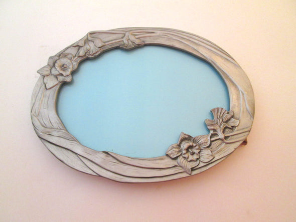 5x7 frame Vintage Seagull Pewter Oval Picture Frame silver daffodils flowers boho decor