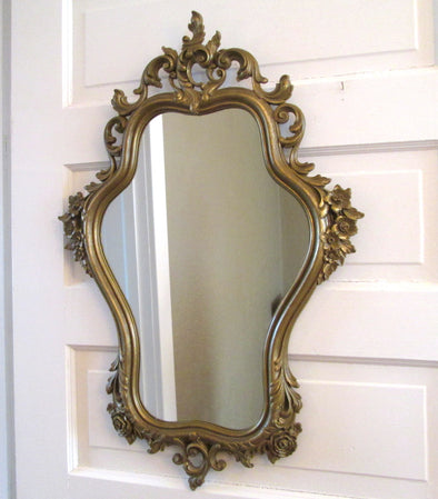 Vintage 1960s Large Syroco Wall Mirror French Country Decor ornate gilded mirror - Late Boomer Vintage