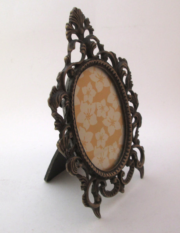 Vintage Oval 5x8 picture frame for 3x4 photos ornate cast metal picture frame boho decor