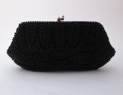 Vintage 1960s Black Bead Mini Bag Coin Purse small black beaded purse evening bag formal bag black clutch purse prom bag basic black - Late Boomer Vintage