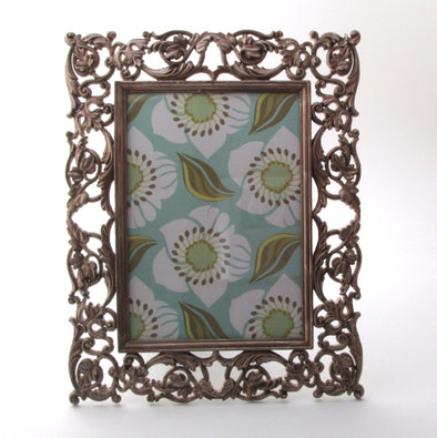 5x7 frame ornate filigree cast metal vintage wedding photo frame boho