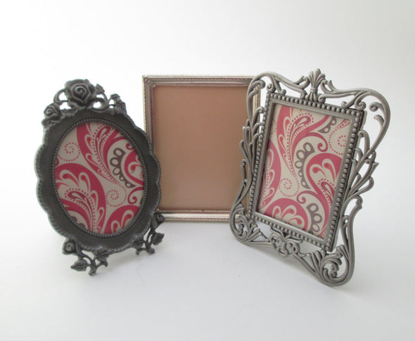 Set of 3 frames Vintage 2x3 picture frames small metal photo frame instant collection vanity boho decor
