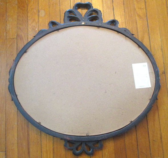 Vintage Euromarchi Oval Mirror 20 inch ornate wall mirror Made in Italy - Late Boomer Vintage