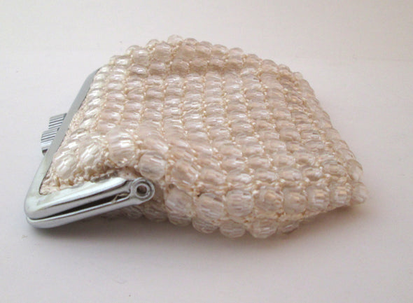 Vintage 1970s Clear Bead Mini Bag coin purse, makeup bag, crochet bead purse - Late Boomer Vintage