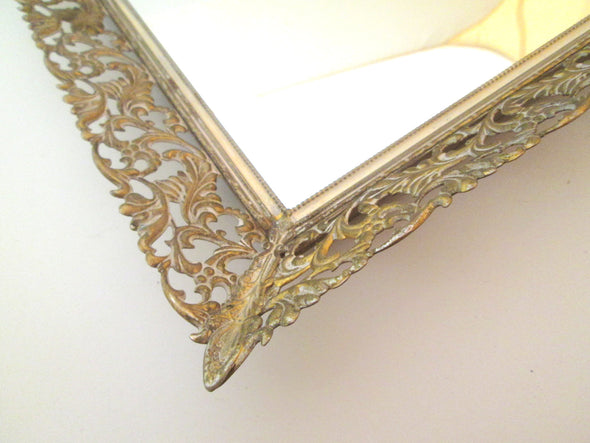 "Vintage Filigree Metal 14"" Vanity Tray mirrored dressing table tray boho decor"