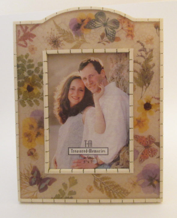 Ganz 5x7 frame cast resin picture frame treasured memories yellow butterfly vintage