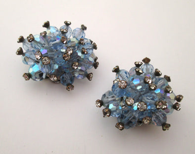 Vintage OOAK 1950s Blue Rhinestone Montee Artisan Shoe Clips something old something blue wedding - Late Boomer Vintage