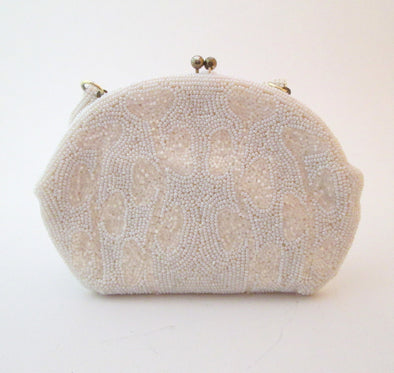 Vintage Micro Bead Purse, 1950s White Bead Wedding Bag beaded formal purse, Gatsby Wedding Bridal Bag - Late Boomer Vintage