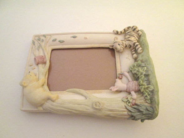 Vintage 3x5 frame Charpente Winnie the Pooh tigger cast ceramic resin photo frame baby gift