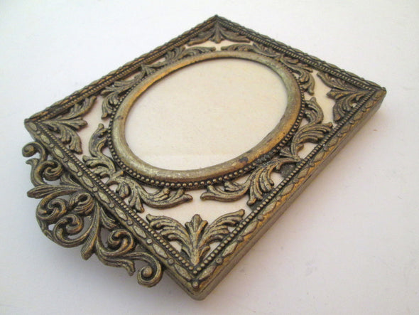 Set of 3 Vintage Small Frames 2x3 frame ornate gold metal filigree frame boho decor nursery decor wedding photo frames - Late Boomer Vintage