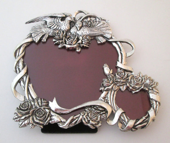 Vintage 3x4 Arthur Court Wedding Frame romantic silver roses birds ribbons small silver double photo frame - Late Boomer Vintage
