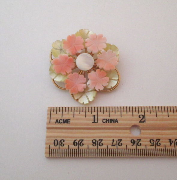 Vintage Coral and Mother of Pearl shell brooch round flower pin - Late Boomer Vintage