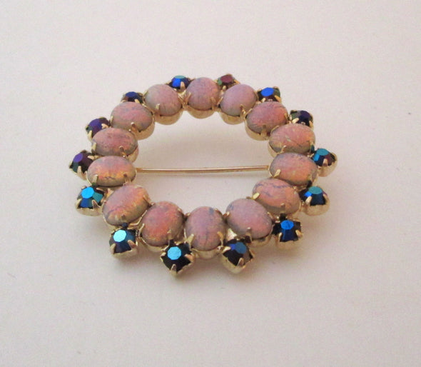 Art Glass Brooch Pin Vintage 1960s Opaline Glass and Blue Rhinestone small lapel pin - Late Boomer Vintage