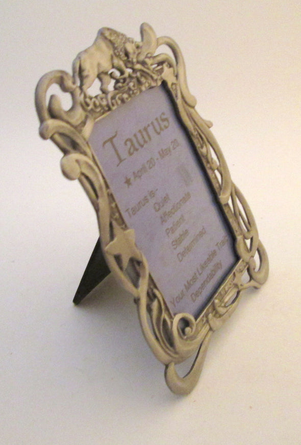 Zodiac Picture Frame TAURUS Vintage 3.5x5 frame cast metal astrology photo frame bull