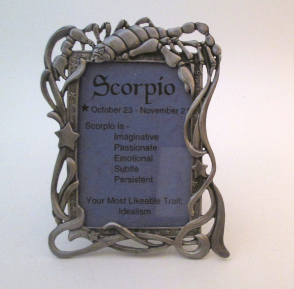 Zodiac Picture Frame SCORPIO Vintage 3.5x5 frame cast metal astrology photo frame scorpion