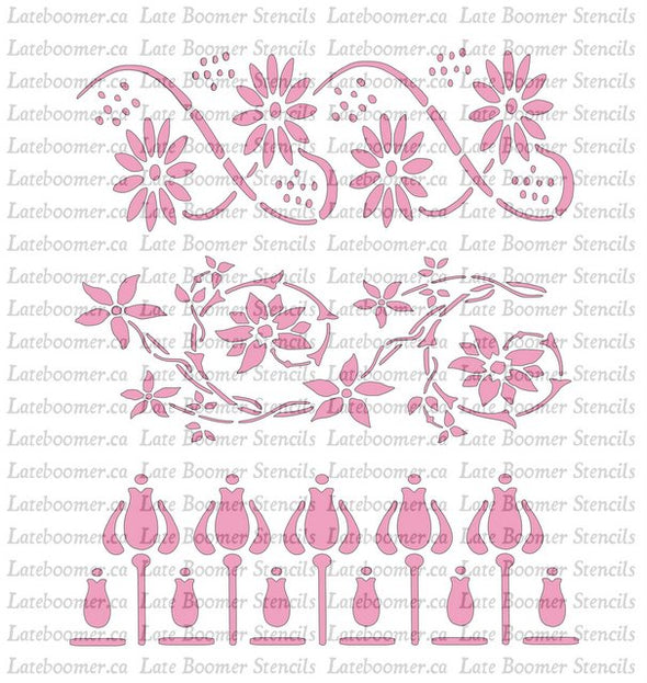 Set of 3 Art Nouveau Flower repeating pattern stencil, reusable Mylar scrapbook stencil - Late Boomer Vintage