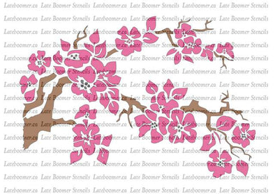 Cherry Blossom Stencil, Japanese Cherry Flower reusable Mylar Stencil for painting - Late Boomer Vintage