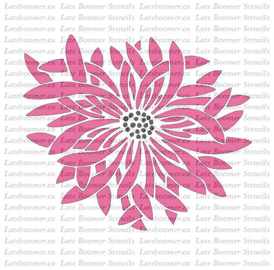 Asian Chrysanthemum Flower Mylar Stencil, Vintage style Japanese flower art reusable painting stencil - Late Boomer Vintage