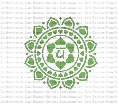 Heart Chakra reusable Mylar Painting Stencil, Yoga Chakra Symbol Anahata craft stencil - Late Boomer Vintage