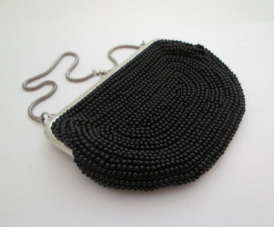 Vintage 1960s Small Black Bead Bag Evening Purse