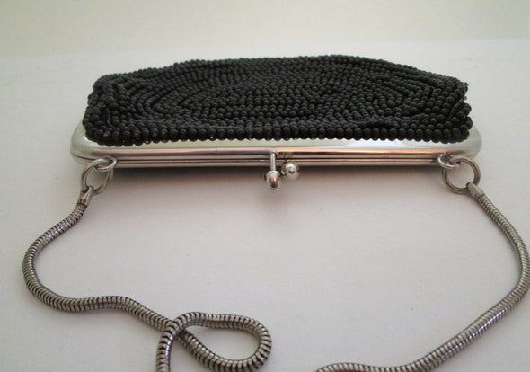 Vintage 1960s Small Black Bead Bag Evening Purse - Late Boomer Vintage
