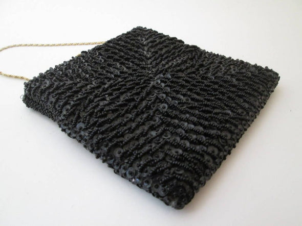 Vintage 1960s Black Beaded Square Bag Purse Clutch - Late Boomer Vintage