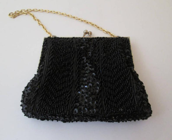 Vintage 1960s Black Bead Bag Sequin Purse - Late Boomer Vintage