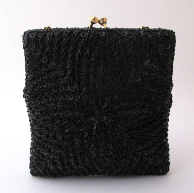 Vintage 1960s Black Beaded Square Bag Purse Clutch